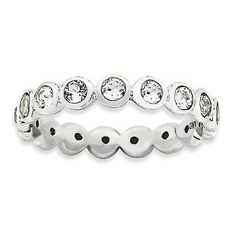 3.5mm Sterling zilveren omlijsting gepolijst Rhodium-plated stapelbare expressies April Crystal Ring - Ringmaat: 5 tot en met 10