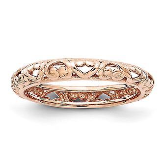 3,5 mm sterlingsølv Rose guld glimtede stabelbare udtryk Pink forgyldt udskåret Ring - ringstørrelse: 5-10