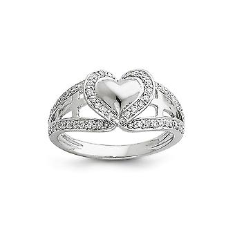 Sterling Silver Polished Gift Boxed Rhodium-plated and Cubic Zirconia Heart Ring - Ring Size: 6 to 8