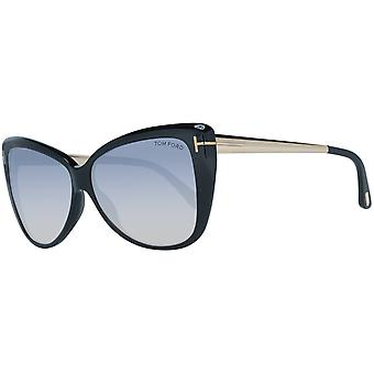 Tom Ford women's mirrored Butterfly sunglasses black