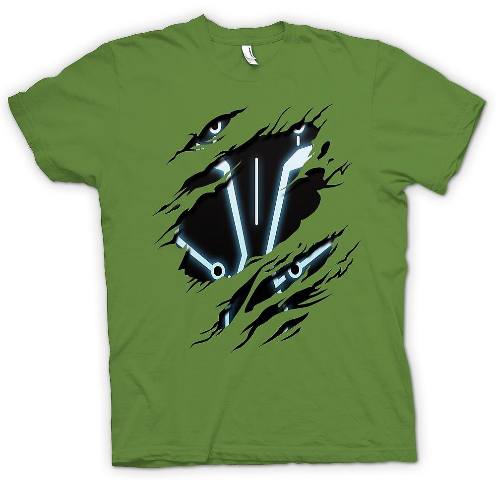 Mens T-shirt - Tron - Sci Fi Ripped Design