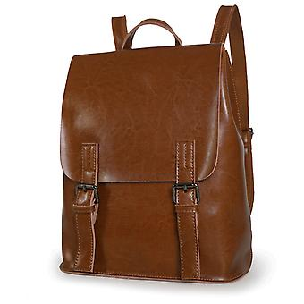 Brown backpack in genuine cow leather, K8555B