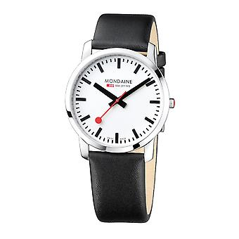 Mondaine Simply Elegant Black Leather Strap Men's Watch A638.30350.11SBB 41mm