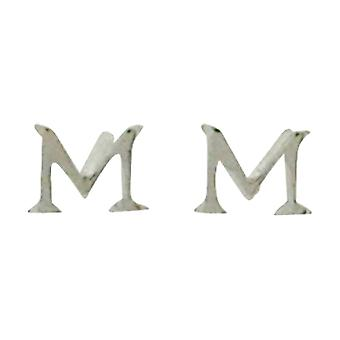 TOC Girls Sterling Silver Small Initial 'M' Stud Earrings
