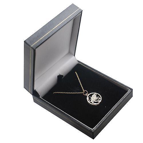 9ct Gold 11mm pierced Taurus Zodiac Pendant with Cable link Chain