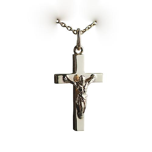 9ct Gold 20x13mm solid block Crucifix Cross with a cable Chain 18 inches