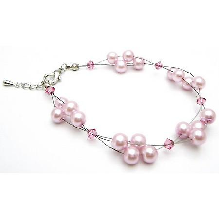 Celebrities Jewelry Pink Pearls Rose Swarovski Crystal Classy Bracelet