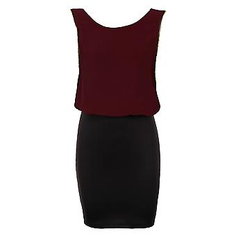Ladies Plain Chiffon Gold Edging Black Stretch Bodycon Women's Short Dress