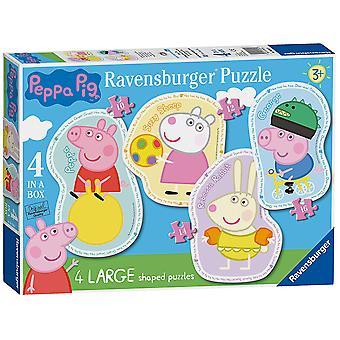 Ravensburger Peppa Pig 4 grandes em forma de quebra-cabeças (10,12,14, 16pc)