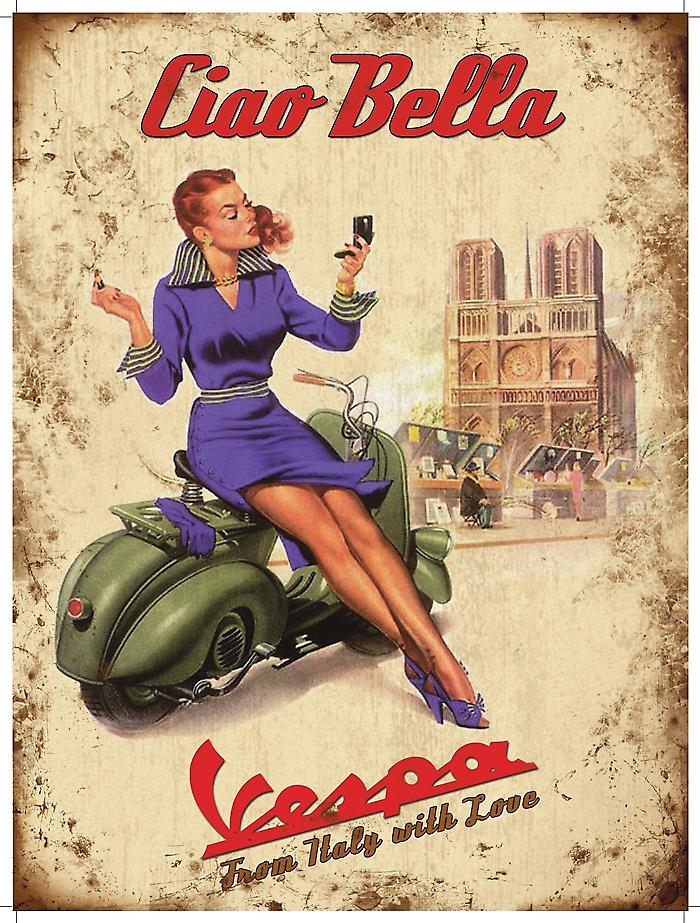 Vespa Ciao Bella metal sign  (og sm 2015)