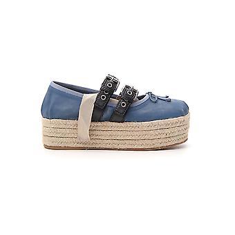 Miu Miu Blue Leather Flats
