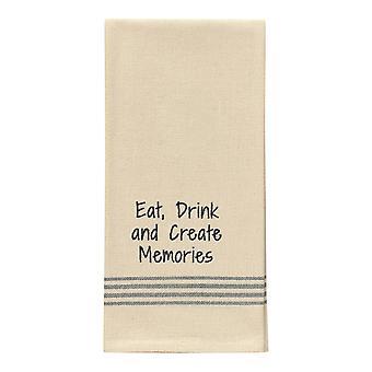 Eat Drink Create Memories Flour Sack Stripe Embroider Kitchen Dish Towel 28 Inch