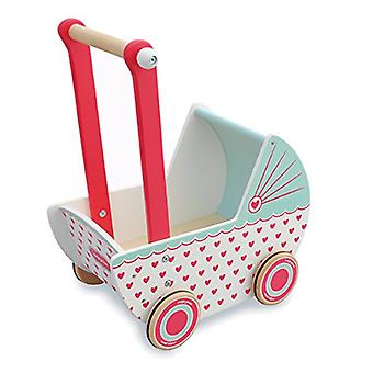 Indigo Jamm Wooden Dolls Pram, Retro Design Toy Pushchair with Rubber Edged Wheels � Hearts
