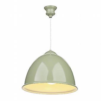 Euston Single Light Olive Green Pendant White Gloss Inner