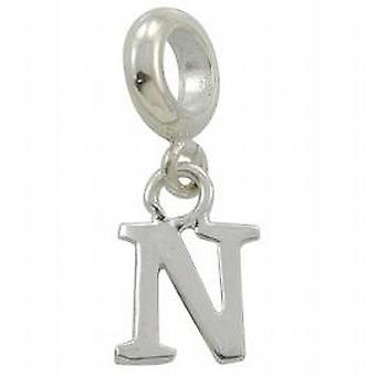 Toc Beadz Sterling Silver Dangle Initial N 2mm Slide-on Bead