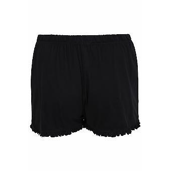 Black Cotton Jersey Pyjama Shorts With Frill Edge