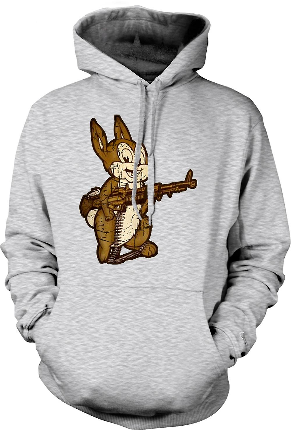 Mens Hoodie - Lapin Avec M60 Machine Gun - Cool design