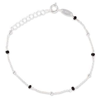 Rhodié silver arm band med svart pärla 16cm-3cm