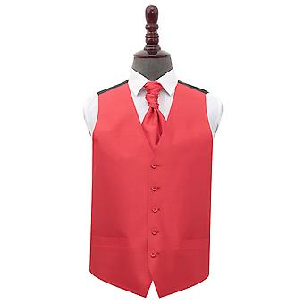 Red Shantung Wedding Waistcoat & Cravat Set