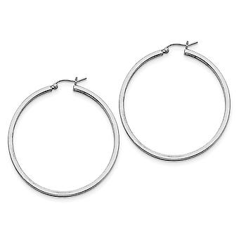 925 Sterling Silver Polished Hollow tube Hinged post 2mm Square Tube Hoop Boucles d'oreilles - 3.5 Grammes