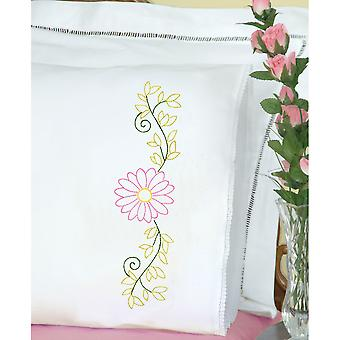 Stamped Pillowcases W/White Lace Edge 2/Pkg-Daisy 1800 553