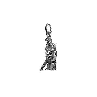 Silver 18x9mm Cricketer Pendant or Charm