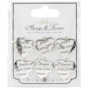 Craft Consortium Wedding Metal Heart Charms 6/Pkg-Amore AFMCHRM6