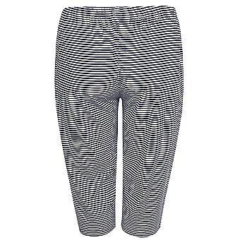 Navy & White Striped Jersey Cropped Pyjama Bottoms