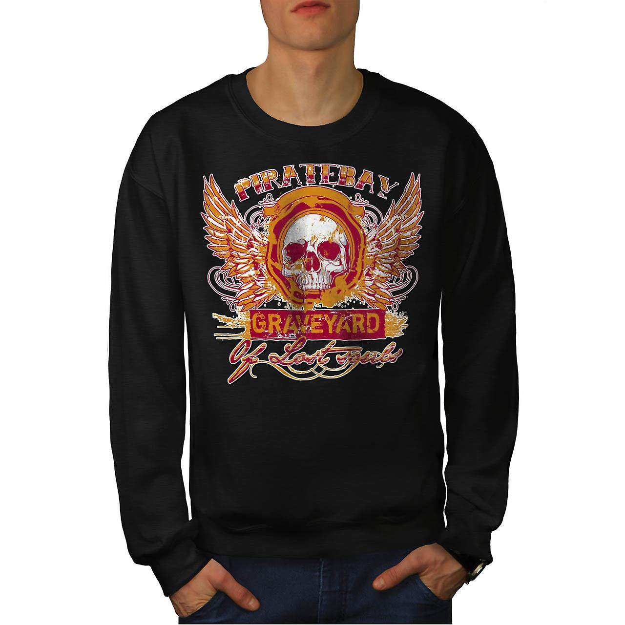 Pirate Bay Grave Yard Lost Souls Men Black Sweatshirt | Wellcoda