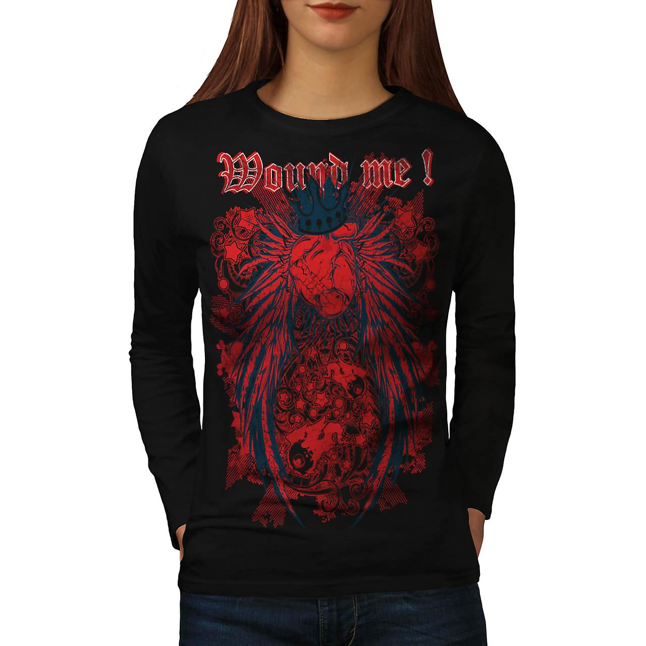 Wounded Heart Art Fashion Women Black Long Sleeve T-shirt | Wellcoda