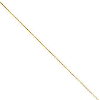 14 k イエロー ゴールド固体ロブスター爪閉鎖 1.2 mm ラウンド小麦チェーン ブレスレット - 長さ: 6 に 10