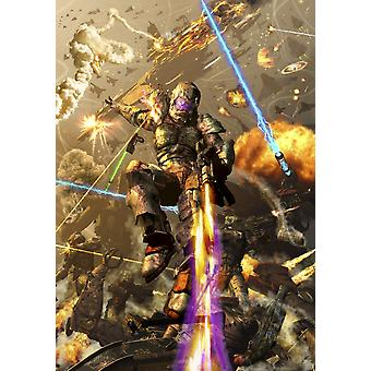 Space marine fighting a chaotic battle on Mars Poster Print