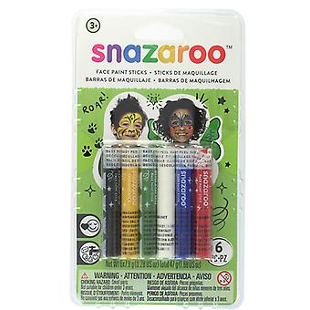 Snazaroo Pack of 6 Rainbow Face Paint Sticks Fancy Dress Accessory