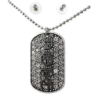Rhinestone Encrusted HOPE Necklace / Earrings Set