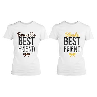 Best Friend Shirts - Blonde and Brunette Best Friends Matching BFF White Shirts