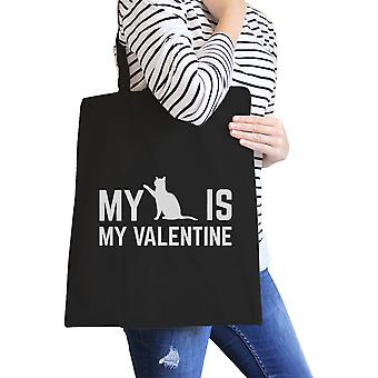 My Cat Is My Valentine Black Canvas Bag  Gift Ideas For Cat Lovers
