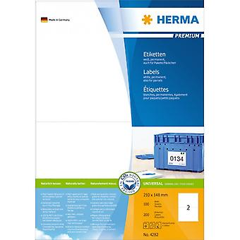 Labels white 210x148 Herma Premium A4 200 pcs.
