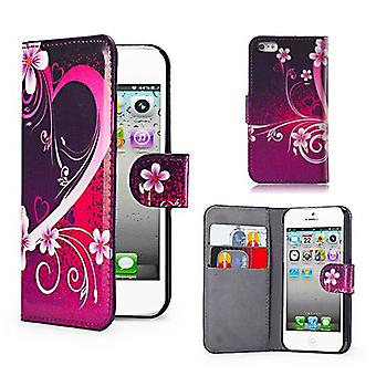 Design Book Leather Case Cover For Apple iPod Touch 5 - Love Heart