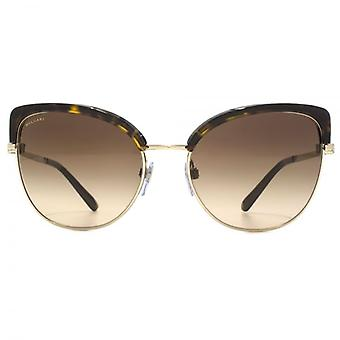 Bvlgari Two Tone Peaked Sunglasses In Pale Gold Dark Havana