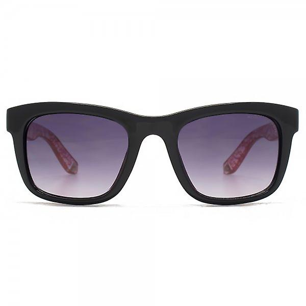 Kurt Geiger Elizabeth Retro Square Sunglasses Black With Clear Temples