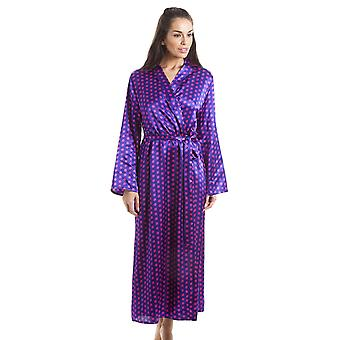 Camille Purple With Pink Polka Dot Luxury Satin Dressing Gown