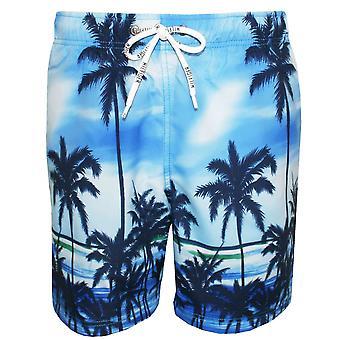 Tommy Hilfiger palmier Swim Shorts, bleu vif