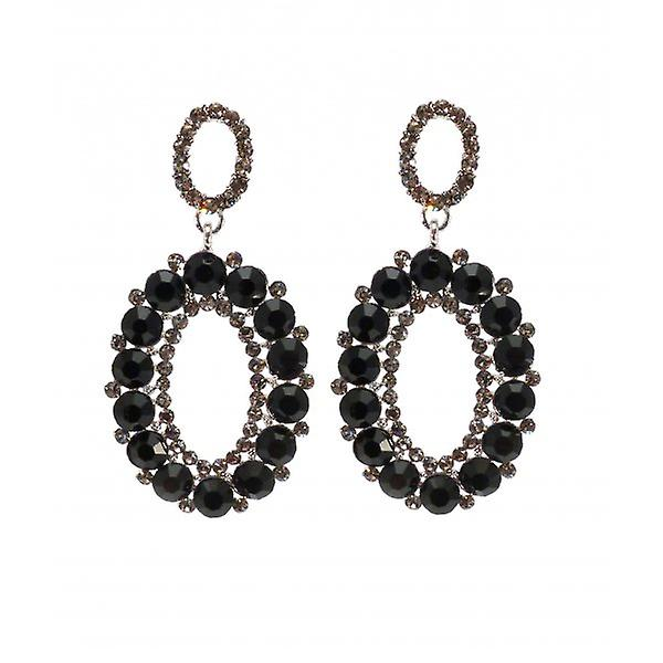 W.A.T Sparkling Black Crystal Oval Shaped Earrings