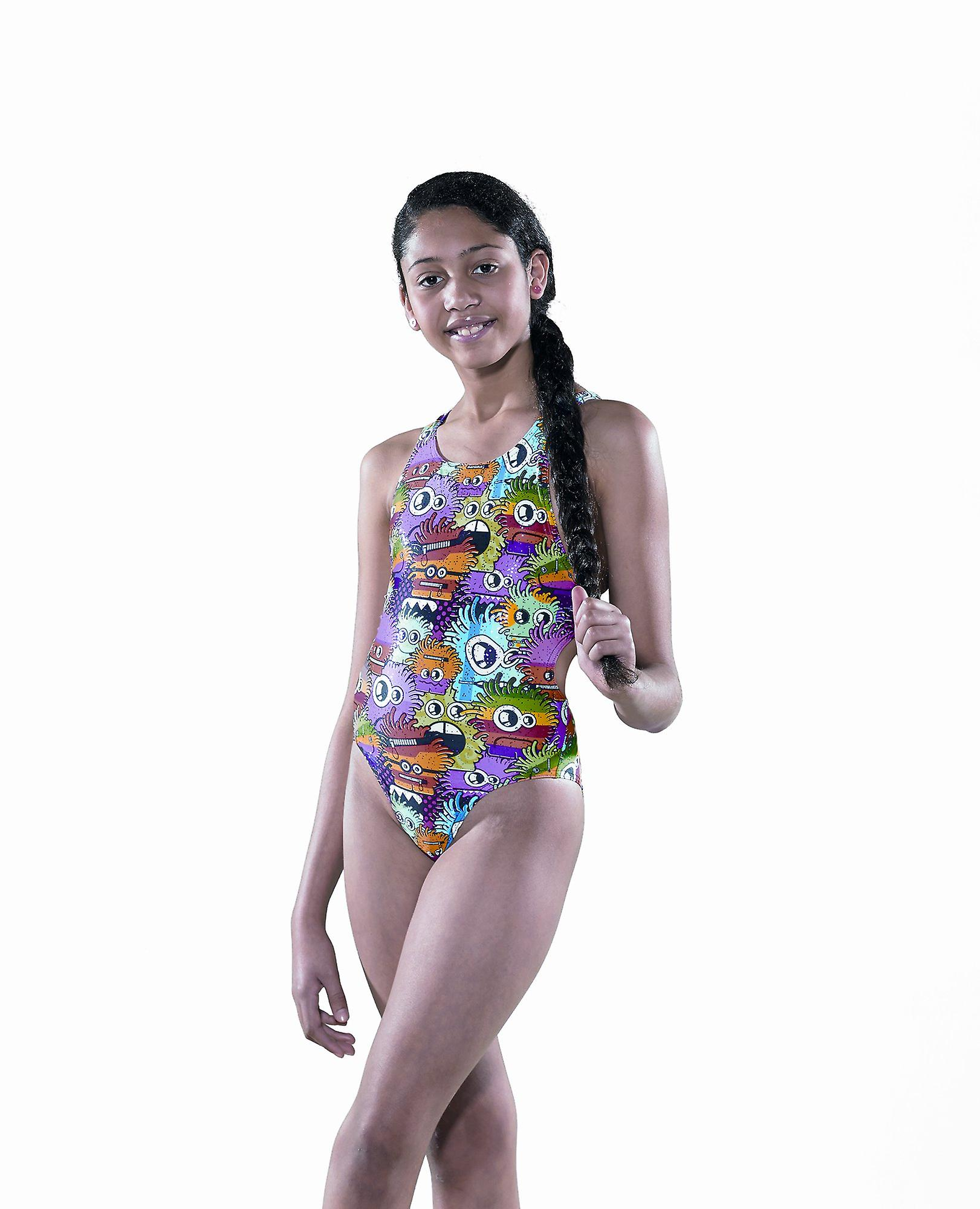 Maru Meisjes Zippy Sparkle Auto Back Swim Suit - Veelkleurige