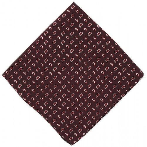 Michelsons of London Small Pine Silk Handkerchief - Burgundy