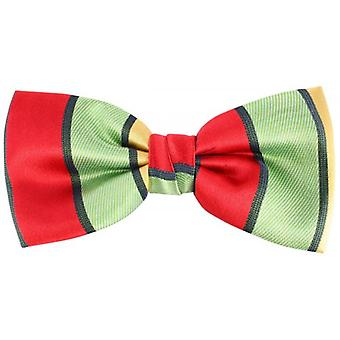 Knightsbridge Neckwear Block Stripe Silk Bow Tie - Red/Green/Yellow