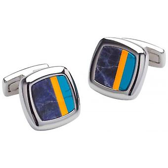 Duncan Walton Sculptor Lapiz Lazuli Cufflinks - Blue/Orange/Silver