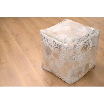 Seat cube Sitzpouf stool stool leather high quality patchwork grey Silber
