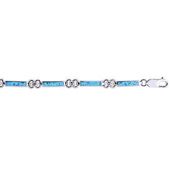 Sterling Silver Rhodium Shiny Rectangular Ring Type Created Opal Bracelet Lobster Clasp - Length: 7.25 to 8