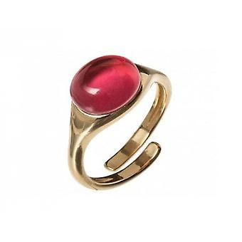Ladies - ring 10 mm - 925 silver plated - quartz - red - fuchsia - size adjustable-